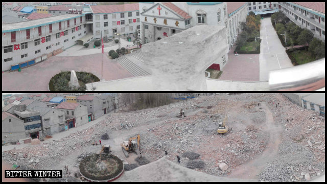 A Christian church occupying 2.3 acres in Yuanyang county was razed to ground