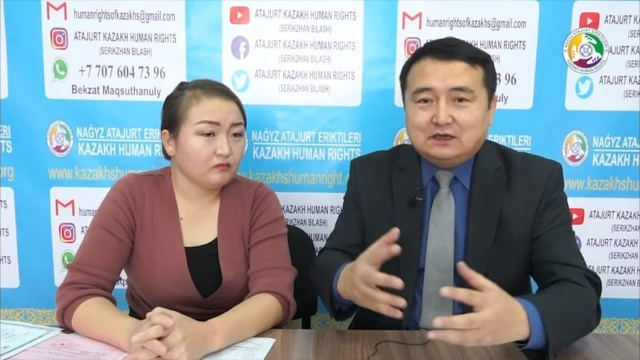 Dina Nurdybay with Kazakh human rights activist Serikzhan Bilash