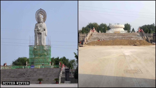 Guanyin statue in Jingye Temple before and after the demolition.