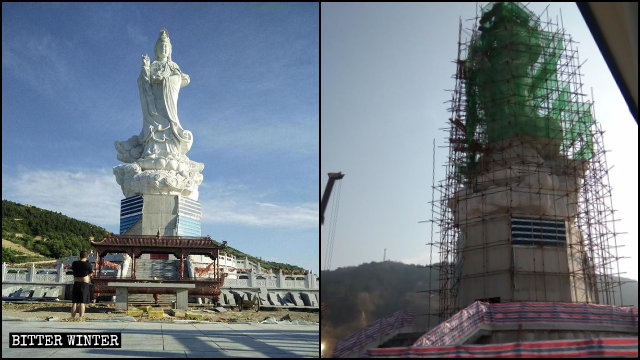 The Guanyin statue on Tianzhu Mountain is being demolished.