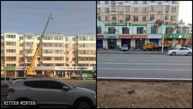 Islamic symbols in the Donghe district are being removed