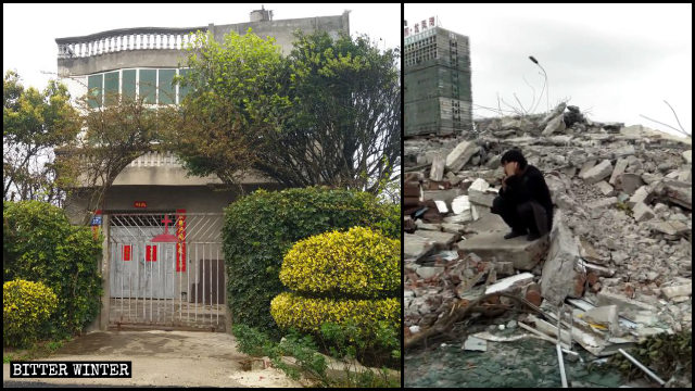 Mr. Cai's house was turned into ruins on November 26.