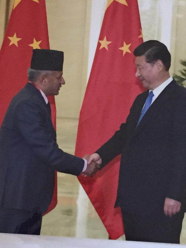 Nepal's Foreign Minister Pradeep Gyawali with Xi Jinping