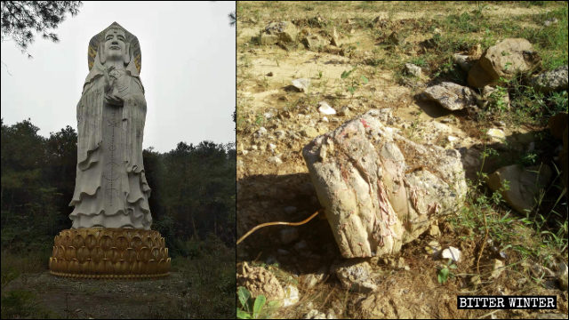 The 21-meter-tall outdoor Male Guanyin statue was demolished