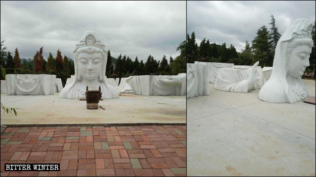 The Guanyin statue from Huayan Temple was divided into seven parts