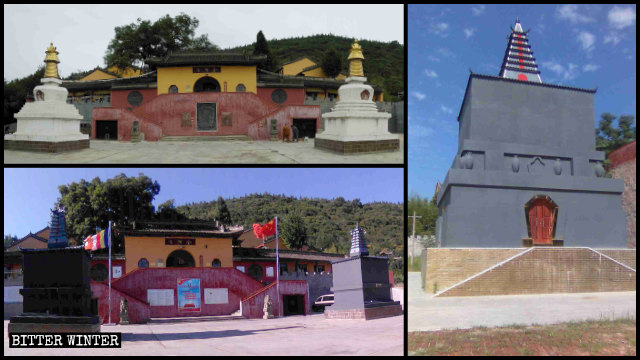 Two white Tibetan towers in Jinding Temple have been painted gray.