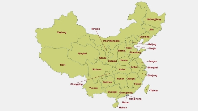 clickable geographical map of china, with regions