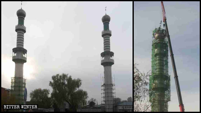 The minarets in the process of being demolished.