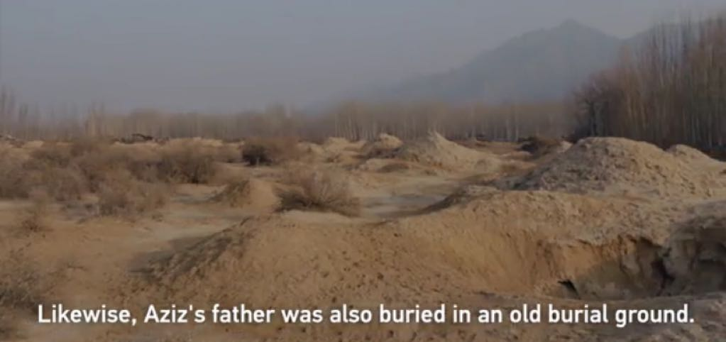 Chinese propaganda claims Aziz's father was buried among mounds of sands…