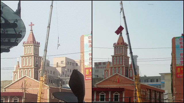 The cross is being removed from the Church on Minggong Road.