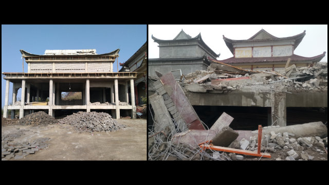 A hall under construction in the Lingjiu Temple was demolished.