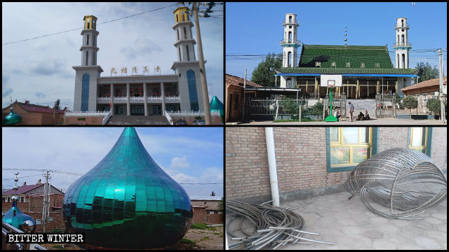 Many domes and crescent moon symbols have been dismantled from the mosques in Wuzhong city's Tongxin county (photo taken in 2018).