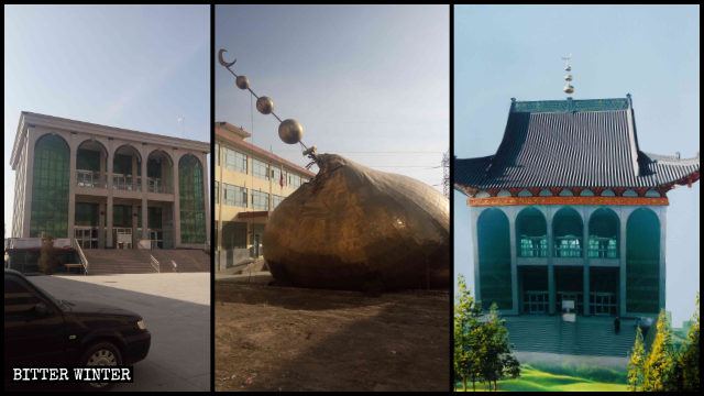 The dome of one of the mosques in Baiyin was removed in November 2019.
