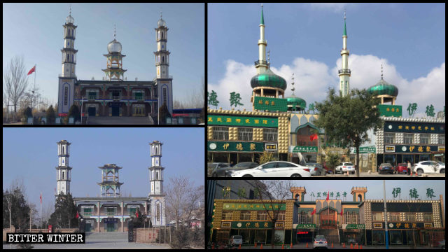 Islamic symbols have been removed from mosques in Ningxia's Yingchuan city.