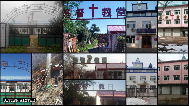 Churches before and after their crosses were removed