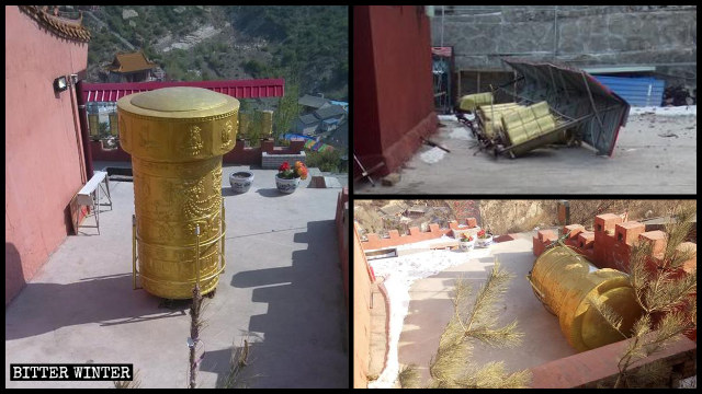 Prayer wheels in Huairen city's Qingliang Temple were removed in November.