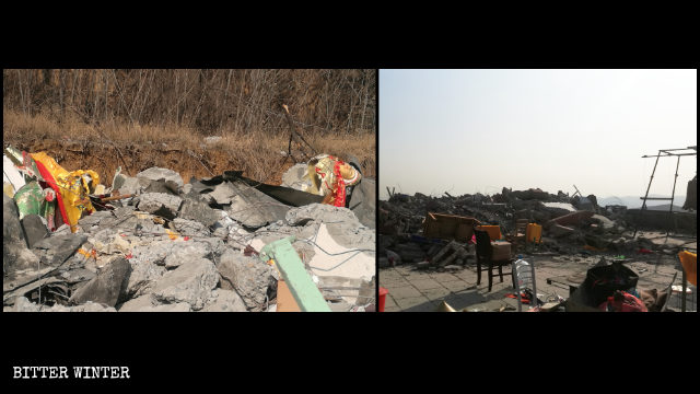 The Shengshou Temple was turned into a pile of ruins on December 30.
