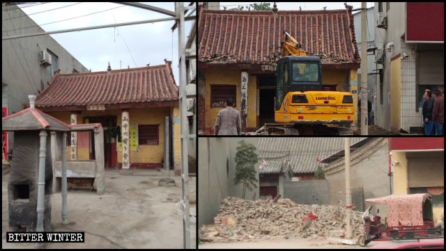 The Taoist Baiyitang Temple in Xuchang city was destroyed after over 100 years of existence.