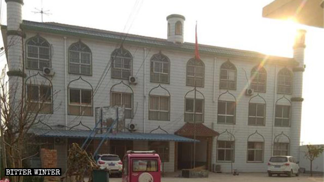The Zhongshahai Arabic Language School after its signboard and the crescent moon and star symbols were removed.