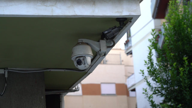 Surveillance camera under eaves