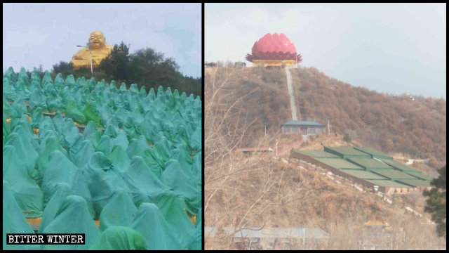 The 800 Arhat statues have been covered with green cloths and the Buddha with a giant lotus.
