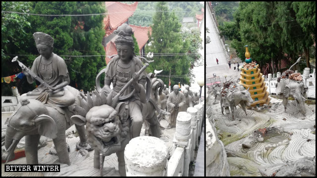 Arhat statues outside the Luohan Temple were demolished soon after they were installed.