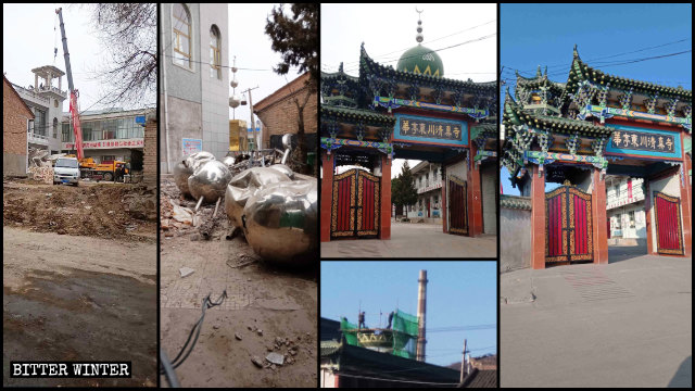 The domes and star-and-crescent symbols have been removed from the Eastern Grand Mosque and the Dongchuan Mosque in Huating.