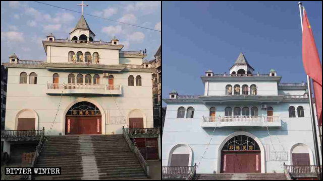 The Grace Church, before and after its cross was demolished.