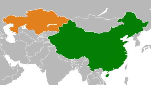 Kazakhstan, left, and China, right
