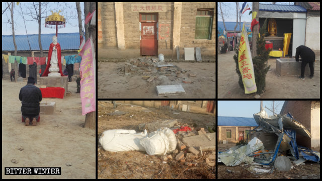 The Mafo Temple was left in disarray after local officials raided it.