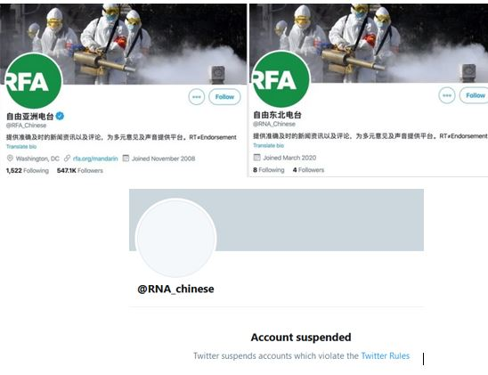 Left, the real Radio Free Asia Twitter account, right, the false CCP account, bottom, Twitter took action.