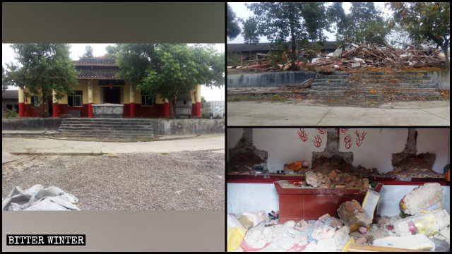 The Sanqing Temple in Mianyang city before and after the demolition.