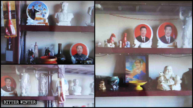 Statues and portraits of Mao and Xi in what used to be a Buddhist supply store
