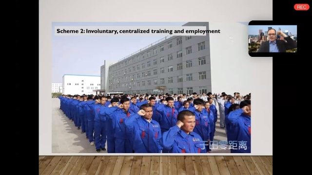 "Uyghur men and women swearing allegiance to the State following ""graduation"" from transformation through education camps, ready for compulsory labor in factories."