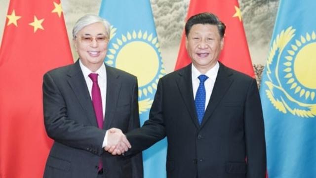 Xi Jinping with Kazakhstan's President, Kassym-Jomart Tokaev (from Twitter)