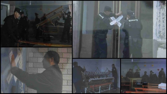 Government employees clear out and seal off churches in Inner Mongolia.