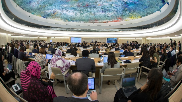 A meeting of the U.N. Human Rights Council in Geneva.