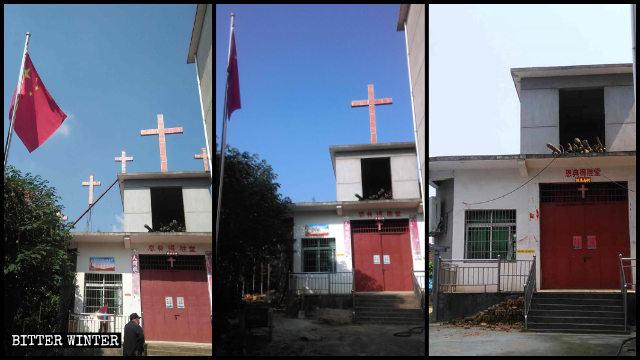All Seven crosses were removed from the church in Xishan town