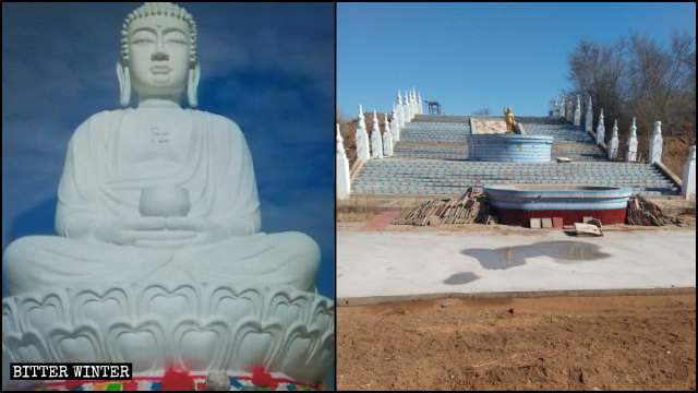 The Buddha statue in the Qingyun Temple before and after it was demolished.