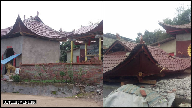 Foye Temple's Buddha statue was removed, its pavilion demolished.