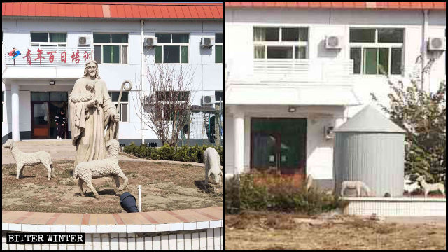"The signboard of the ""Hundred-Day Youth Training"" building and the statue of Jesus was covered."