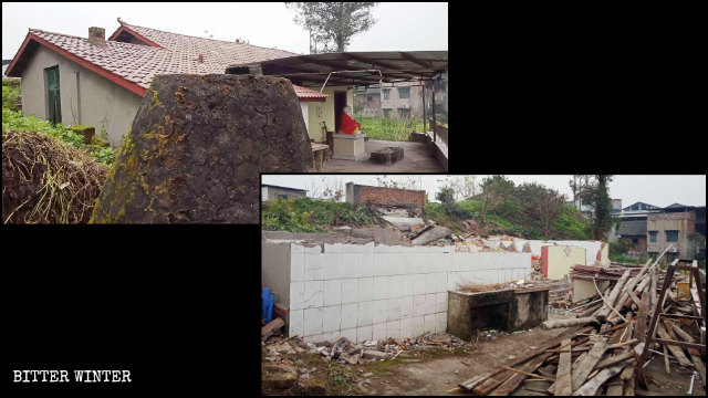 The Phoenix Temple in Qitang town was destroyed in January.