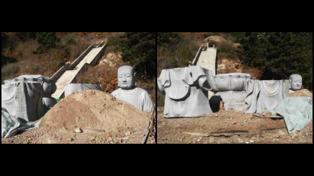 The Earth Store Bodhisattva statue in the Pufa Temple was dismembered and removed