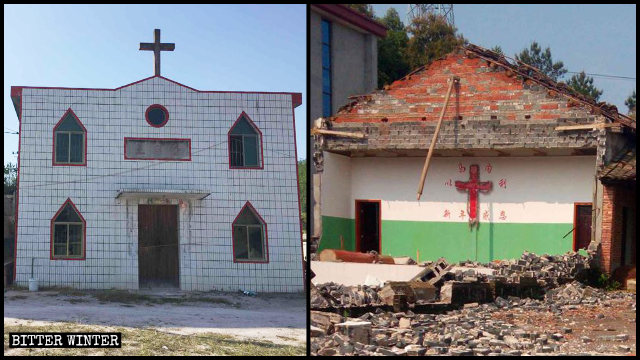 The church in Jiangxi's Fuzhou city was razed to the ground on April 10.