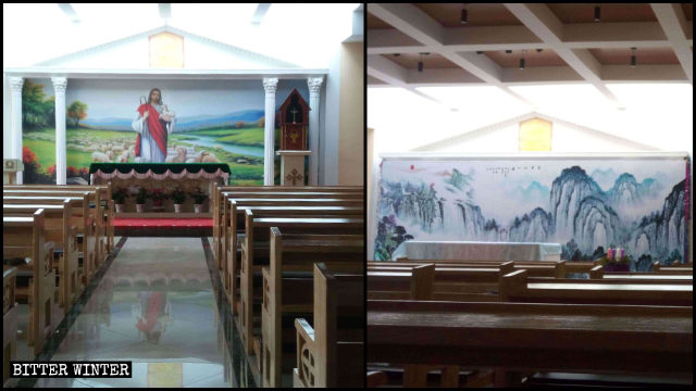 A religious mural depicting Jesus has been painted over with a landscape drawing.
