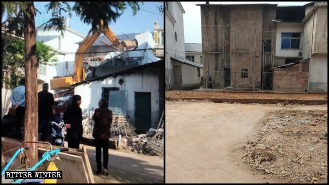 An old Local Church venue in Shangrao was razed to the ground.