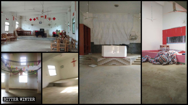 The purged churches and meeting venues in Yugan county.