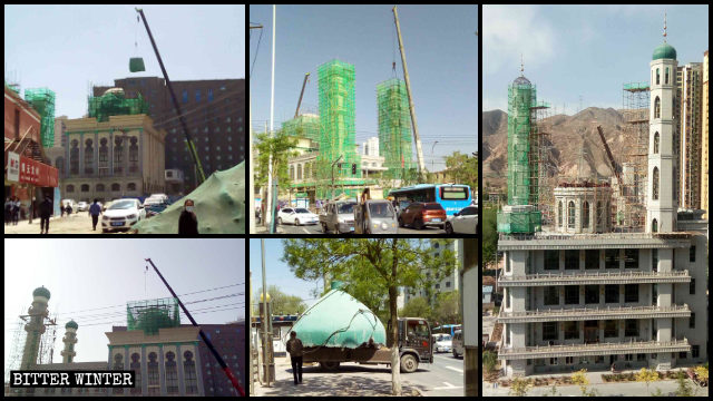Domes and minarets on mosques were demolished or altered in Lanzhou.