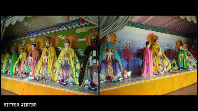 The statues enshrined in the Dragon King Hall and the Nainai Temple.