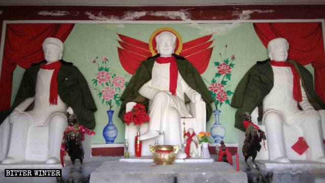 Statues of Mao Zedong, Zhou Enlai, and Zhu De enshrined in the Qingyun Temple.